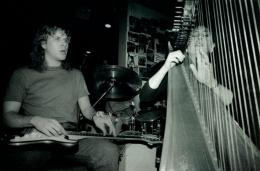 With Harpist Joanna Jordan at Grossmans-in 1991 © Gayle-Hermuses